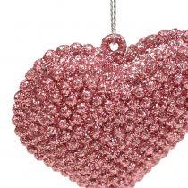 Cuore rosa da appendere con mica 6,5 cm x 6,5 cm 12 pezzi