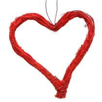 Bast cuore per appendere rosso 10 cm 12 pezzi