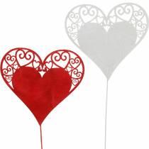 Cuore sul bastone, cuore decorativo plug, decorazione di nozze, San Valentino, decorazione cuore 16 pezzi