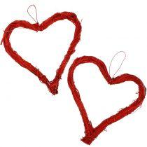 Bast cuore per appendere rosso 15 cm 8 pezzi