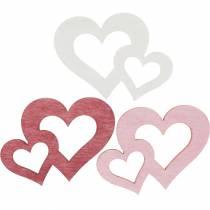 Cuori in legno, omaggi per decorazioni da tavola, San Valentino, addobbi matrimonio, doppio cuore 72pz