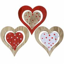 Cuore assortito rosso, bianco, legno naturale assortito 4,5x4,5cm 24 pezzi