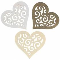 Decorazione da tavola cuore legno bianco, crema, marrone 4cm 72p