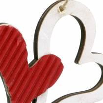 Ciondolo cuore in legno rosso, bianco 8 cm 24 pezzi