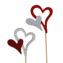 Borchie a cuore in legno rosso, bianco 38 cm 12 pezzi