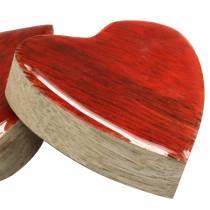 Cuori in legno di mango smaltato naturale, rosso 4,3 cm × 4,6 cm 16p