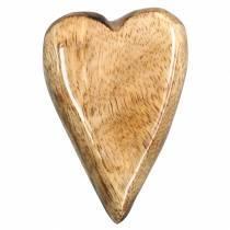 Cuori in legno di mango smaltato naturale 6,2–6,6 cm × 4,2–4,7 cm 16 pezzi