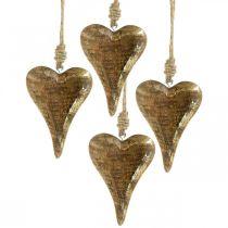 Cuori in legno con decorazioni dorate, legno di mango, ciondoli decorativi 10 cm × 7 cm 8 pezzi