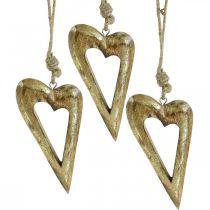 Cuore decorativo, legno di mango effetto oro, decorazione in legno da appendere 13,5 cm × 7 cm 4 pezzi