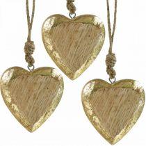 Cuori da appendere, legno di mango, decoro in legno effetto oro 8,5 cm × 8 cm 6 pezzi