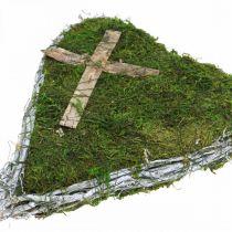 Grave decorazione vite cuore, muschio con croce per disposizione tomba 30 × 20 cm
