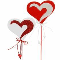 Cuore sul bastone rosso, bianco Dekoherz picchetto San Valentino 16 pezzi