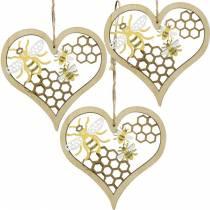 Cuore decorativo api giallo, cuore in legno dorato per appendere decorazioni estive 6pz