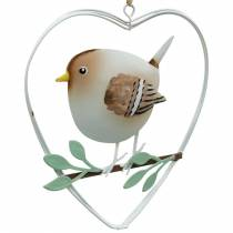 Pendente cuore con passeri, decoro primaverile, cuore in metallo, San Valentino, cuore uccello 4pz