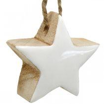 Decorazioni per l'albero di Natale mix di legno cuore stella abete bianco, natura 5cm 27p