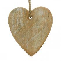 Ciondoli in legno, abete/cuore/stella, set decorazioni natalizie H7.5/8cm 9pz
