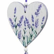 Cuore con motivo lavanda da appendere, matrimonio, decorazione estiva mediterranea, San Valentino, cuore lavanda 4 pezzi