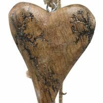 Cuori in legno con intarsi glitterati su filo da appendere naturale L60cm