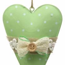 Appendino cuore metallo verde lime, bianco assortito H11cm 4 pezzi