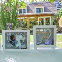 """Salvadanaio da matrimonio """"Honeymoon Fund"""" in legno con frontale in vetro bianco H15m"""