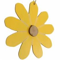Fiori in legno da appendere, decorazioni primaverili, fiori in legno gialli e bianchi, fiori estivi 8pz