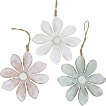 Fiori in legno da appendere, estate, fiori in colori pastello, decoro primaverile Ø16cm 3pz