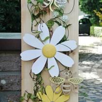 Fiori in legno, decorazioni estive, margherite gialle e bianche, fiori decorativi da appendere 4 pezzi