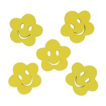 Fiore in legno con faccia gialla 2,5cm 48p