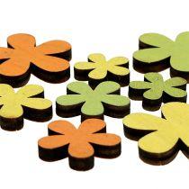 Fiore di legno 2-3,5cm Arancione, Verde, Giallo 36 pezzi
