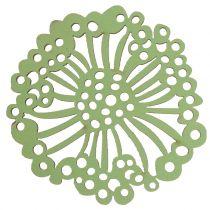 Fiore in legno verde / bianco 5 cm 36 pezzi
