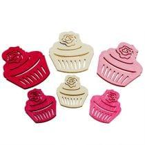 Cupcakes in legno decorazione da tavola colori pastello muffin decorazione compleanno 24 pezzi
