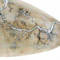 Uovo di Pasqua in legno di mango lavato bianco naturale Decorazione di Pasqua in legno H16cm