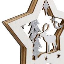 Addobbo natalizio Stella in legno con motivo 15 cm 3 pezzi