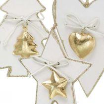 Ciondolo natalizio cuore / abete / stella, decorazione in legno, decorazione per albero con campane bianco, dorato H14.5 / 14 / 15.5cm 3 pezzi