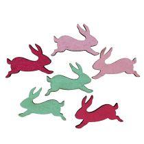 Coniglietti di legno assortiti come decorazioni da spargere 5cm 24 pezzi