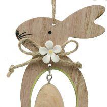 Appendino decorativo coniglio in legno con uovo 4 pezzi