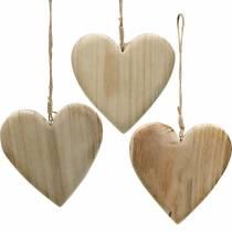Cuore in legno da appendere cuori decorativi natura San Valentino Festa della mamma 3 pezzi