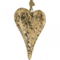 Cuore da appendere in legno dorato vintage appendiabiti 15cm
