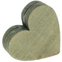 Cuori di legno grigio / rosso / verde 3-6,5 cm 8 pezzi