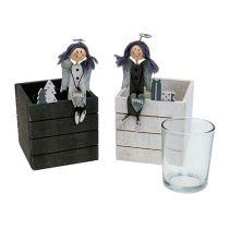 Scatola di legno con angelo 8 cm x 8 cm grigio, bianco 2 pezzi