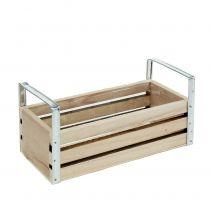 Scatola di legno naturale 20 cm x 9 cm H6 cm con manici