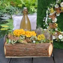 Fioriera fioriera in corteccia con manici cassetta in legno naturale