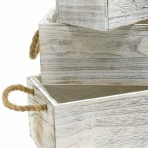 Fioriera, scatola in legno per piantare, fioriera, set fioriera L35 / 30 / 25cm