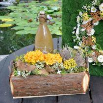 Cassetta in legno per piantare, portavaso con manici, fioriera con corteccia cm 45,5