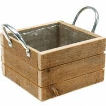 Scatola in legno con manici naturale 16,5 × 16,5 cm