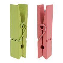 Clip in legno colorato 7,2cm 48 pezzi