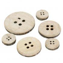 Bottone decorativo in legno lavato bianco 15 pezzi