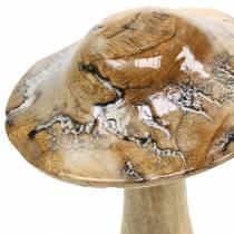 Fungo in legno smaltato natura / bianco H20cm
