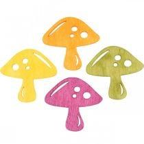 Funghi sparsi, decorazioni autunnali, funghi portafortuna per decorare arancio, giallo, verde, rosa H3.5 / 4cm W4 / 3cm 72 pezzi