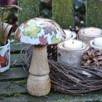 Decorazione di funghi in legno foglie autunnali bianche, decorazione da tavolo con funghi colorati Ø10cm H15cm